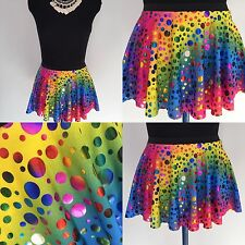 10 X GIRLS RAINBOW FOIL LYCRA DANCE SKIRTS AGE 3-8 Approx -COSTUMES-  JOBLOT