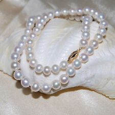 Pearl Necklace Solid 14K Gold Clasp Genuine Real Freshwater 45cm White 7mm New