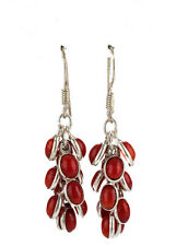 DESIGNER Silver Tone Red Coral Stone Beaded Dangle Statement Earrings