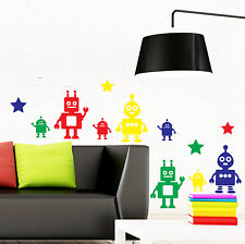 Toy Robots x8 Wall Sticker Pack Decal Transfer Kids Decoration Bedroom Nursery