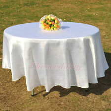 "90"" Round White Satin Tablecloths Wedding Party Banquet Table Cover Decoration"