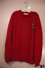 Vintage Heidi Comfort Red Wool Pullover Sweater w/Feather Accents Size L Unisex