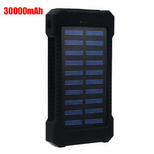Black Dual USB 300000mAh Portable Solar Battery Charger Power Bank For Phone