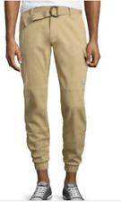 NWT ECKO JEANS CARGO JOGGER BANDED BELTED PANTS KHAKI SLIM FIT TAPER LEG 34