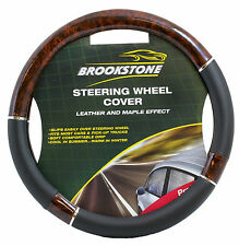 STEERING WHEEL COVER BLACK AND MAPLE WOOD LEATHER LOOK - BRAND NEW