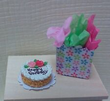 Dollhouse miniature 1:12  Happy Birthday Cake by Bright deLights & gift bag