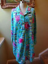Nick & Nora Women's XXL Flannel Blue Pink Owls Birds Trees Nightgown Pjs Pajama