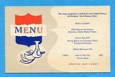 MENU - UNITED AIR LINES - DC6  MAINLINER  300