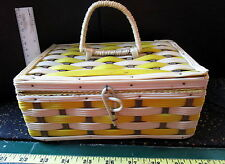"""Sewing Basket NOS Small  Woven Wicker  ABSOLUTELY ADORABLE 8.5 X 5.75 X 3.5"""""""