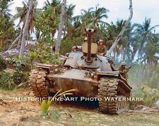 VIETNAM WAR PHOTO US ARMY 1ST CAV M48 PATTON TANK TRONG LAN 1967 8x10 #22085
