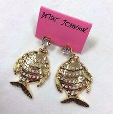 NWT Betsey Johnson FISH EARRINGS crystal studded goldtone BIG LIPS tropical RARE