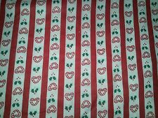 LINED VALANCE 42X12 CHRISTMAS HOLIDAY PEPPERMINT CANDY CANE HEARTS HOLLY BERRIES