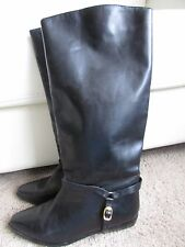 Haze II Black Genuine Leather Riding Buckle Pull On Boots Sz 8.5 M Lovely!