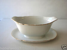 VTG White Gravy Boat  w/ Underplate Gold Edge Trim  R Bavaria 14