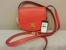 NWT Lauren Ralph Lauren Winchester Crossbody Handbag Leather Punch Red $128