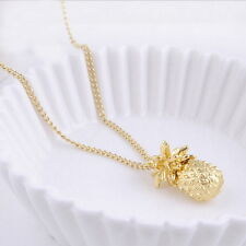 Summer Tiny Pineapple Cute Fruit Charm Gold Plate Long Chain Necklace Jewelry ER