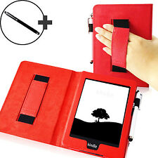 Leather Red Strap Smart Case Cover for Amazon Kindle Paperwhite 2015 + Stylus