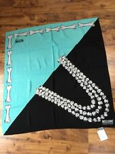 MOSCHINO CHEAP & CHIC turquoise and black SQUARE SCARF 34 x 34