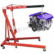 2 Ton Hydraulic Folding Workshop Engine Crane Stand Hoist Lift Jack Wheel Red