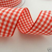 per 2  metres red & white gingham ribbon 5 widths Berisfords colour 15