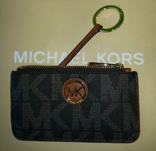 New Michael kors Fulton Signature PVC  Key Chain/Ring/Pouch in BROWN.