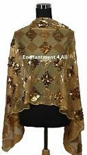 New Elegant Handmade Oblong Checks Lace Scarf Shawl Wrap w/ Sequins, Golden