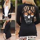 Women O Neck Long Sleeve Skull Backless Top Blouse Shirt Tee Jumper T-Shirt 8-14