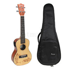 Top Solid Spruce 23 Inch Electric Acoustic Concert Ukulele Ukelele Hawaii Guitar