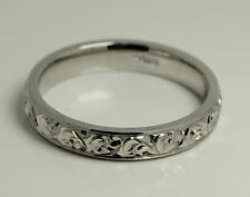 HAND MADE AND HAND ENGRAVED 18 CARAT  WHITE GOLD WEDDING RING