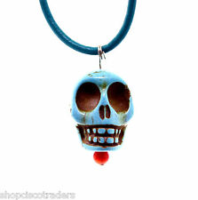 Dyed Howlite Day of Dead Skull ARTISAN Pendant Necklace A43-5 Leather Cord