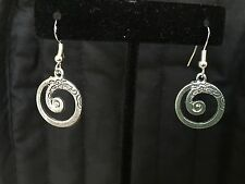 Sterling Silver Ear Wire/Tibetan Spiral Flower Engraved Dangle Drop Earrings