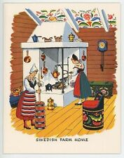 VINTAGE SWEDISH FARM HOUSE POTATO DUMPLING RECIPE PRINT 1 HORSE CAT CHICKEN CARD