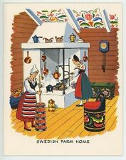 VINTAGE SWEDISH FARM HOUSE HEARTH POTATO DUMPLINGS RECIPE PRINT DUCK DECOY CARD