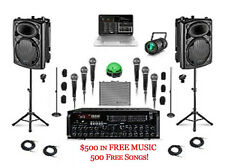 KARAOKE DJ SYSTEM Computer LAPTOP SOFTWARE PROFESSIONAL MIXER 6 MICS LIGHTING