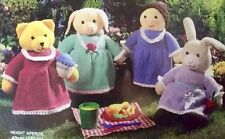 Knitting Pattern - Set of FOUR PATTERNS -  Toys; Teddy Bear. Pig. Rabbit. Girl