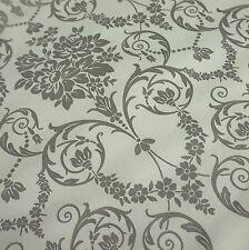Panna e Argento BROCCATO Stampato PVC TABLECLOTH tessuto (al metro)