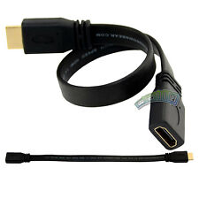 1Ft 30CM Short Flat HDMI Extension Lead Gold Female Jack to Male Plug Cable Cord