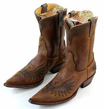 "Old Gringo mens Eagle Inlay 10"" Tall Leather Ochre/Choc Cowboy Boots Size 9.5"