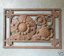 ANTIQUE FRENCH ART DECO WROUGHT IRON PLAQUE DECORATION Hardware N°4