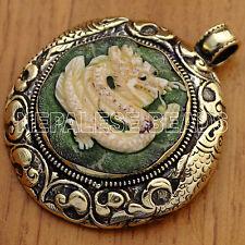 PD2785 Tibetan Nepalese Handmade Repousse Brass White Dragon Pendant Nepal