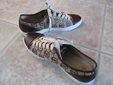 New MICHAEL KORS  Women Leather/Jacquard Logo Sneakers Walking Shoes 8.5 M/39.5
