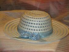Women's Blue and White Broad Rimmed Hat with Ribbon and Double Rose Corsage