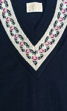 NWT Pendleton Women's Navy V Neck Country Sweater Vest Virgin Wool Retail $58 L