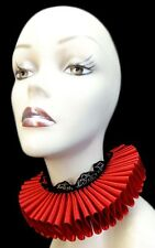 Red Bk Queen Satin Lace Elizabethan Neck Ruff Ruffled Collar Victorian Steampunk