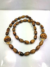 """Vintage Chinese Tiger Eye Large Carved Beads & Beaded Necklace, 31"""""""