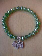 Handmade Scottie Dog Glass Beaded Bracelet Green AB with Charm Scottish Terrier