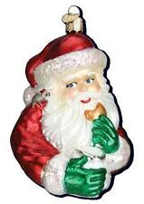 COOKIE BREAK SANTA CLAUS OLD WORLD CHRISTMAS GLASS ORNAMENT W/ MOUSE NWT 40238