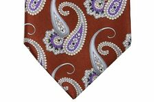 Brioni Tie Golden brown with purple and grey paisleys, pure silk