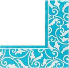 Ornamental Scroll Caribbean Blue Wedding Floral Garden Party Luncheon Napkins