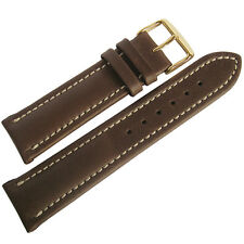 22mm Mens Fluco Chrono Nabucco Smooth Brown Leather GOLD Buckle Watch Band Strap